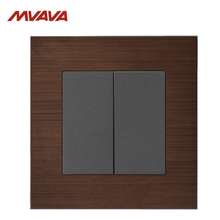 MVAVA 16A Light Switch 2 Gang 1/ Way Wall Decorative Push Button EU/UK Standard Alumimum Brusted Control Free Shipping
