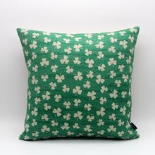 LINKWELL 18×18″ Green Four Leaf Clover Lucky for Kid Room Decor St. Patricks Day Burlap Square throw Cushion Covers Pillowcase