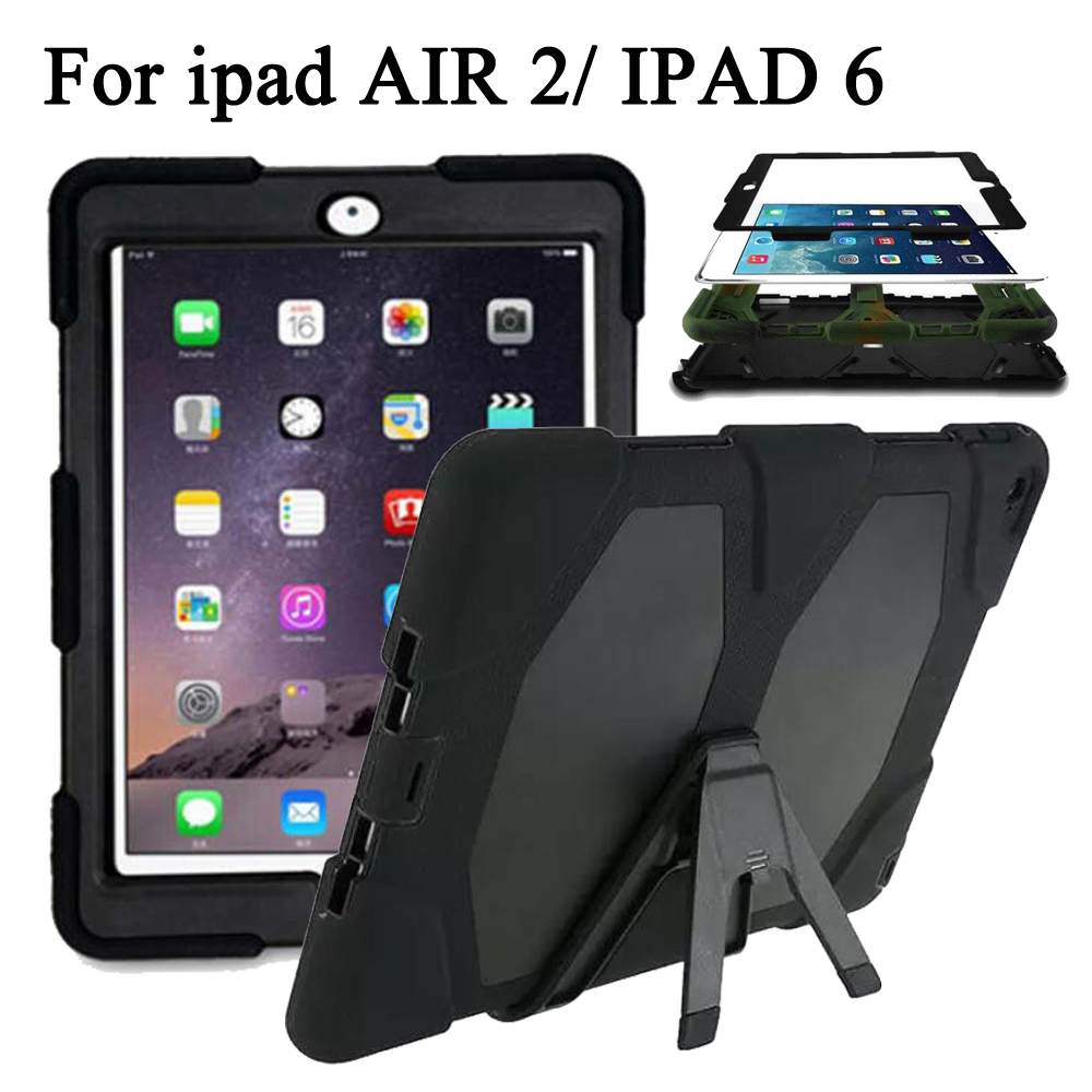 Shockproof Case For IPad Air 2 A1566 A1567 Hybrid Plastic+Silicon Heavy Duty Shockproof Dual Layer Rugged Military Armor Back for ipad air 2 heavy duty 9 7 fundas shockproof armor hydrid case back cover for ipad air 2 360 degree protective shell stand
