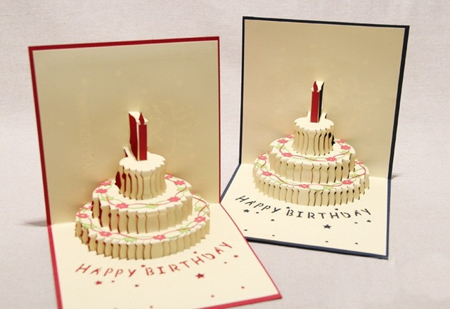 Hot Selling5pcslot3d Popup Greeting Cardbirthday Cakebirthday