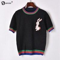 JOYDU 2018 Runway Knit Summer Top T Shirt White Rabbit Embroidery Striped T shirts for Women Short Sleeve Casual Female T shirt
