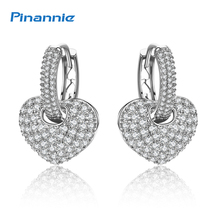 Pinannie Carat Lover AAA Zircon Heart Shape Drop Earrings for Women Holiday Gifts 3 Gold Colors Wedding Jewelry Brincos