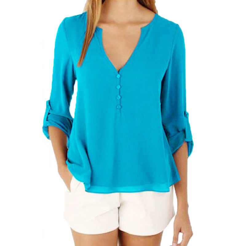 Fashion 11 Color Female Chiffon   Shirts   Women Summer Casual Top Plus Size S-5XL Loose Long sleeve Thin And Light Chiffon   Blouse