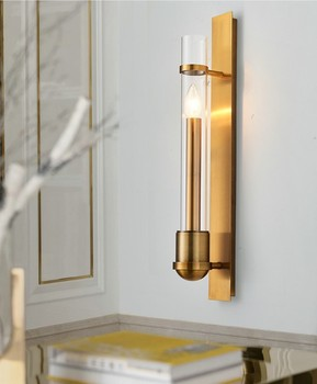 Американский простой медный настенный светильник золотой гостиной телевизор задний фон на стену для коридора прикроватный коридор лампа т...