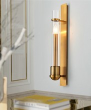 American Simple Copper Wall lamp Golden Living room Television background wall Aisle Bedside Corridor lamp Toilet