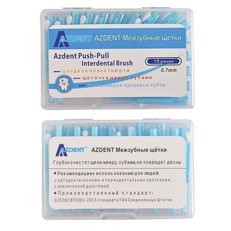 AZDENT 15 pièces/paquet brosse à dents orthodontique brosse à dents Push-Pull brosse à gencives interdentaire 0.7mm soins buccaux cure-dents blanchiment des dents