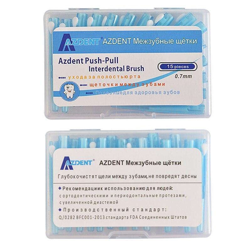 AZDENT 15 teile/paket Kieferorthopädische Draht Pinsel Zahnbürste Push-Pull Interdentalbürste Gum Pinsel 0,7mm Mundpflege Zahnstocher Zahn Bleaching