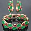 Nuevo diseño real de oro rosa plateado de lujo Mona Lisa verde brazalete de circón pendiente de la joyería, el mejor regalo de la joyería para de las mujeres/de la muchacha