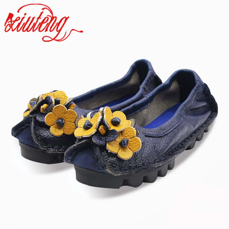Xiuteng Genuine Leather Flowers Women Shoes Handmade Flats 2017 Spring Autumn Nation Style Soft Moccasin Slip On Size 40 leather shoes handmade shoes spring and summer new style soft genuine leather flats shoes shoes for pregnant women flats