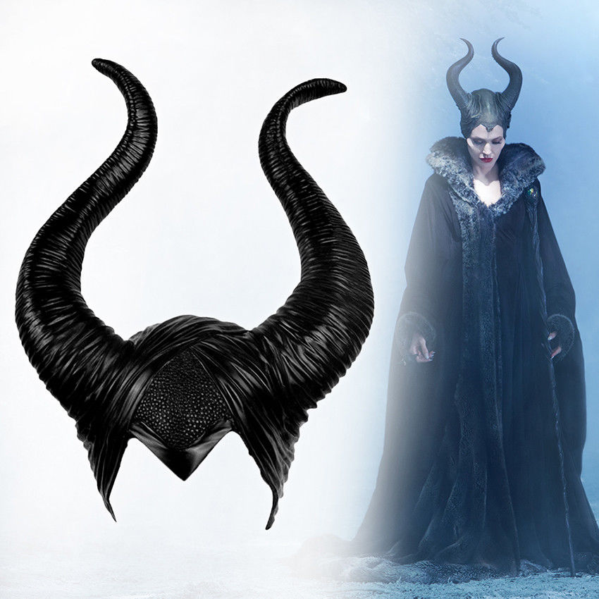 Halloween Cosplay Maleficent Witch Horns Hat Headwear Mask Headgear Helmet Party Black Queen