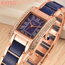 2017 h marca de lujo kimio cuarzo de las mujeres relojes de diamantes reloj de pulsera de las señoras vestido reloj de pulsera de oro con la caja de regalo mujer
