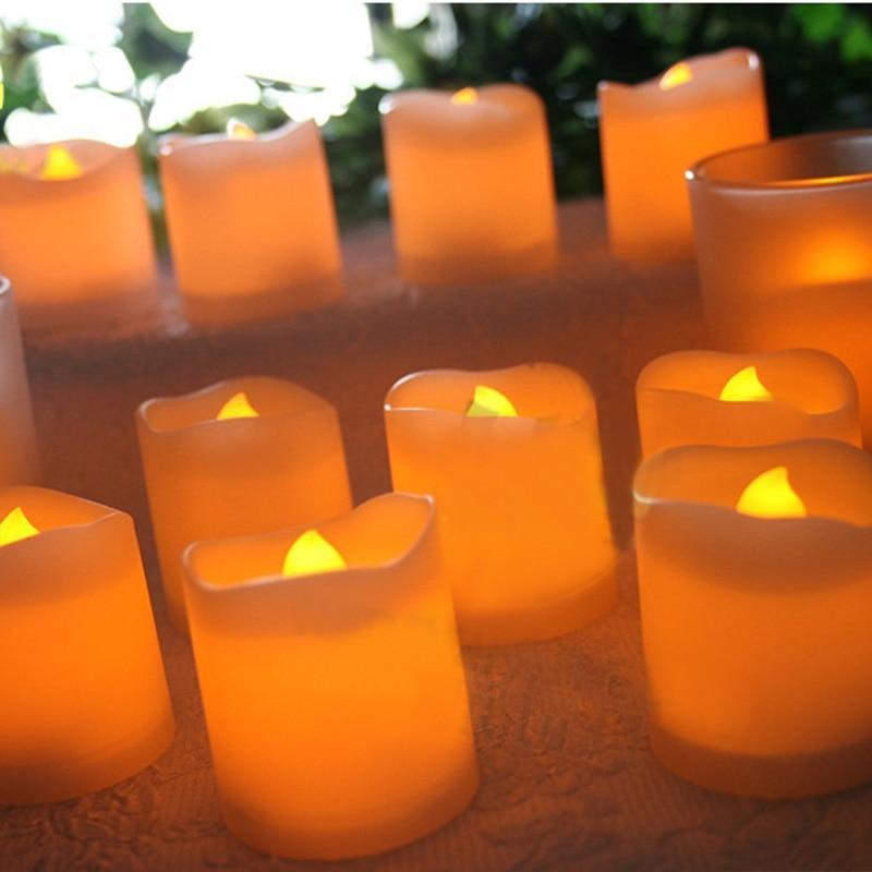 12 teile/los Helle Flackern Flammenlose LED Tee Licht Elektrische Gefälschte Kerze Batterie Betrieben Wohnkultur -- WWO66