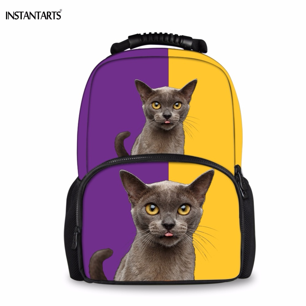 INSTANTARTS Kawaii 3D Short Hair Cat/Kitten Print Backpacks Casual Large Youth Bagpack F ...