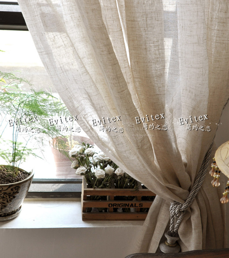 Short Curtains For Living Room 270cm High American Country Style Linen Voile