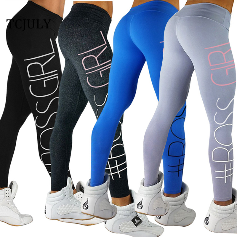 TCJULY Fashion Letter BOSS GIRL Printed Woman Leggings High Waisted Push Up Workout Pants Quick Dry Stretch Flex Fitness Leggins