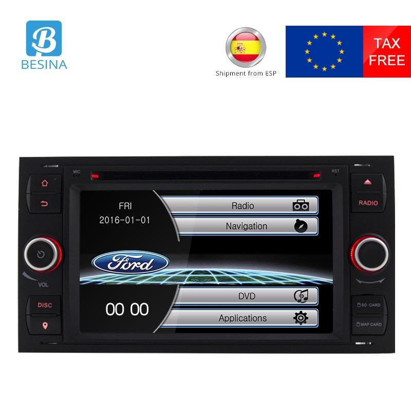 Besina 2 Din Voiture Lecteur DVD Pour Ford Focus/Focus 2 Kuga Mondeo Connecter Transit Fiesta Galaxy Fusion Radio multimédia Autoaudio