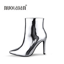 newest women boots sexy high heels ankle boots for women fur warm boots winter and autumn woman shoes plus size 4-11(China)