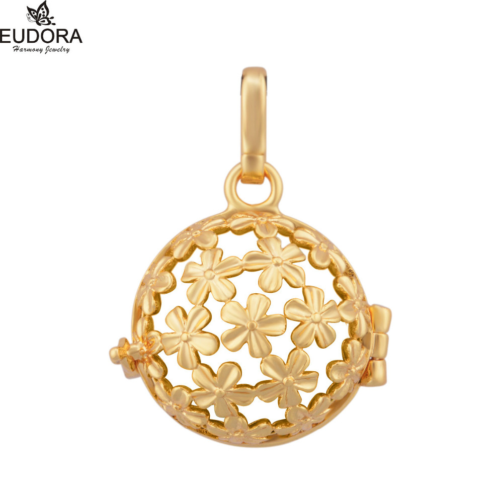 Retail Floral Harmony Bola Locket Cage Pendant for Pregnant Gold Color Floating Cages fit for Chime Sound Ball BH182