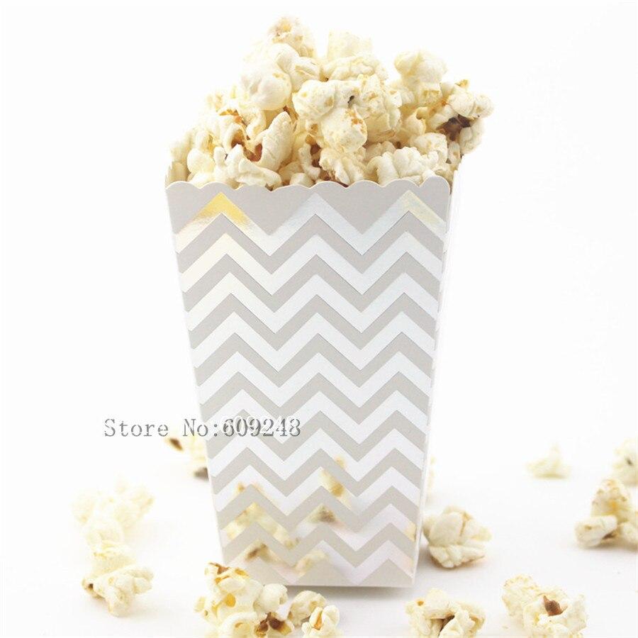 24pcs silver foil chevron paper popcorn boxesmetallic zig zag party favor boxescandy snack treatbirthdayweddingcartonsbulk
