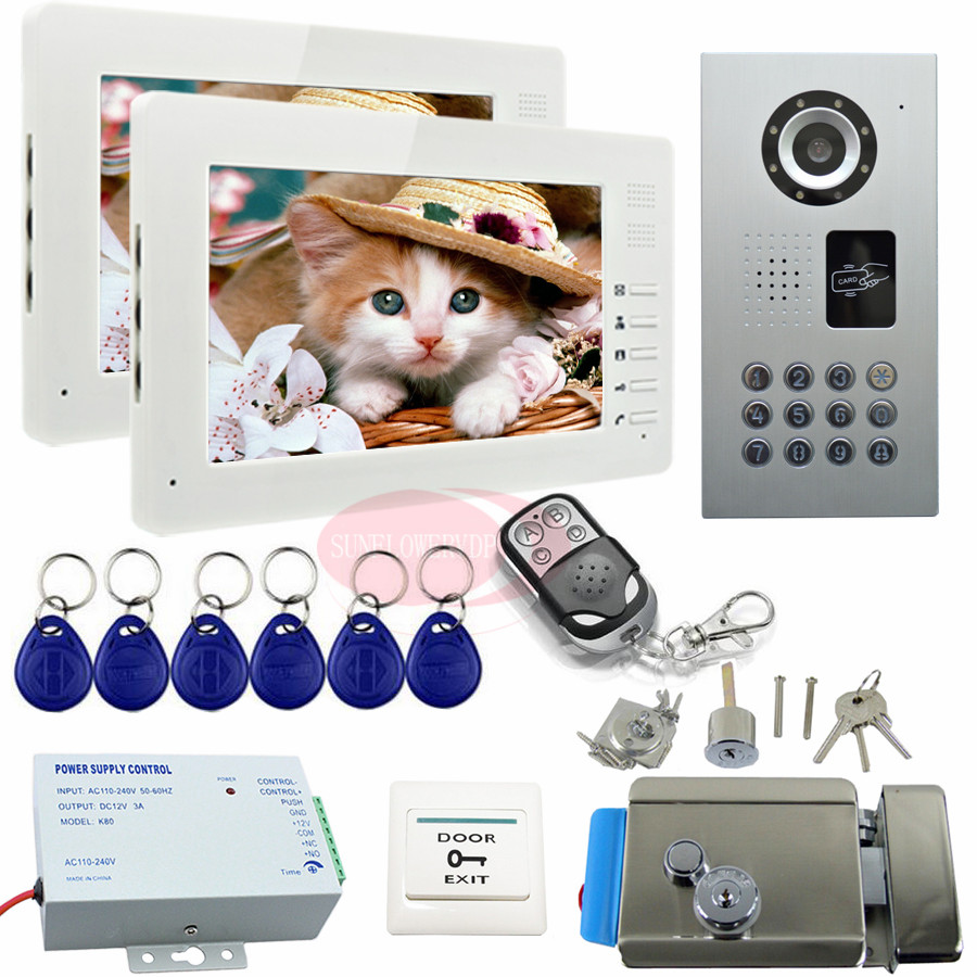 Video Intercom With Electric Lock IP65 Waterproof Door Phone Intercom+Wireless Remote Control Security Camera Monitoring System intercom system for home 7inch color ccd camera video intercom with electric lock door phone intercom video bell ip65 waterproof