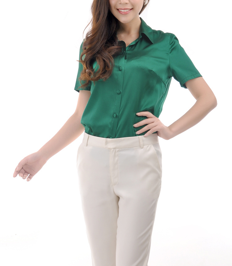 2873a96365ffb S XXXL women Fashion silk satin blouse button ladies silk blouses shirt  office Black Green Gold White long sleeve satin top 8016-in Blouses   Shirts  from ...