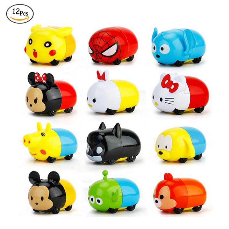 12Pcs/Set Kids Toys Cars Baby Cartoon Toy 4.5cm Mouse Dog Pig Rabbit Diecast Alloy Model Doll Toys Car Boys Girls Christmas Gift