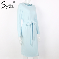 sytiz светло-голубой пос женское платье до икры Serena прошел с линии сырой и круглым изделия новое постулат 2017 года осень-зима