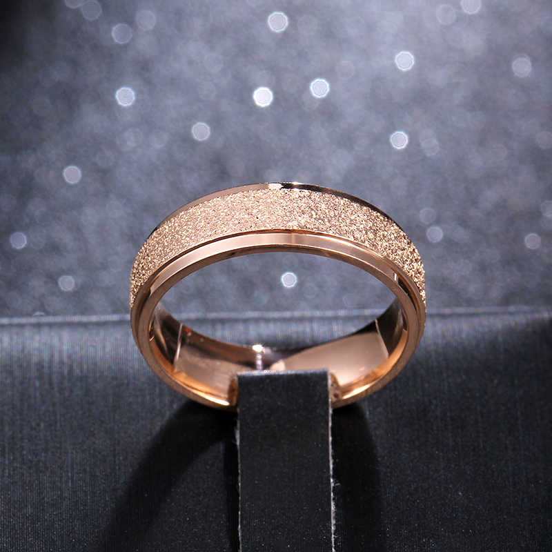 6mm Rose Color Titanium Steel Ring For Men and Women