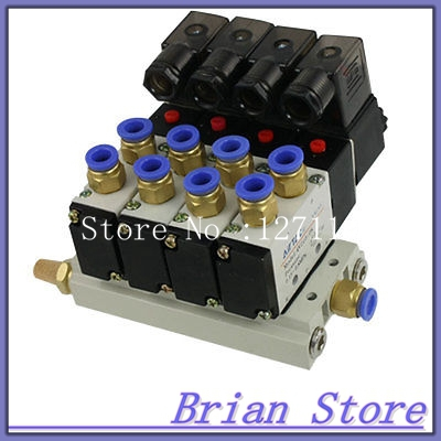 12v 4V210-08 AC Quadruple Solenoid Valve Mufflers 8mm Quick Fittings Base Set