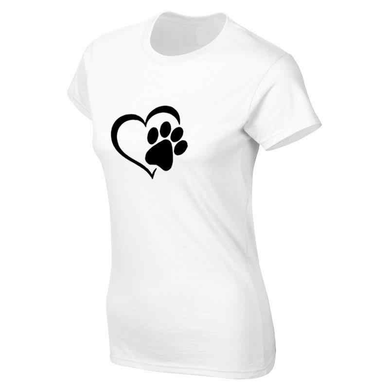 Dropshipping 2019 Yeni Moda Köpek Kedi Paw Kalp Baskı Tops Harajuku Komik Kawaii Femme Kadın t-shirt Kadın