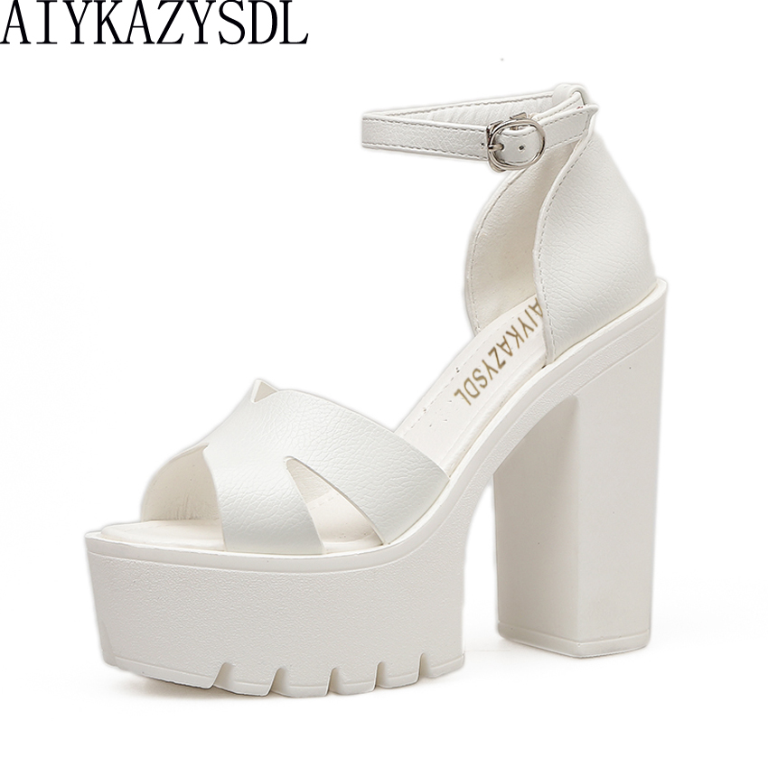AIYKAZYSDL Fashion Women Summer Shoes Sandals Buckle Ankle Strap Open Toe Block Thick High Heels Platform Cut Out Strap Pumps lucyever women vintage square toe flat summer sandals flock buckle casual shoes comfort ankle strap women footwear mujer zapatos