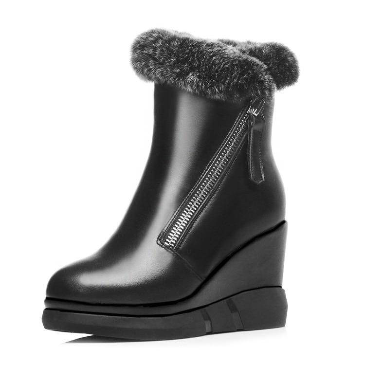 ФОТО 2016 shoes woman Genuine leather Rabbit hair Ankle Boots High heels wedges Martin Platform Motorcycle Boots Botas femininos