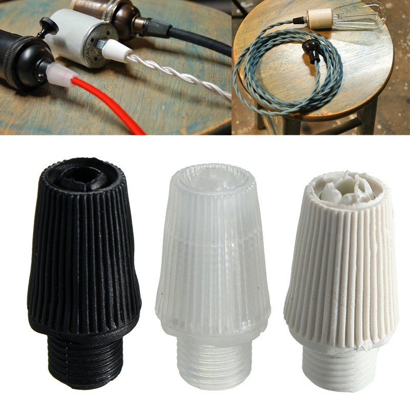 New 10pcs Strain Relief Piece Pendant Light Lamp Bases Socket Cloth Wire Threaded Cord Grip