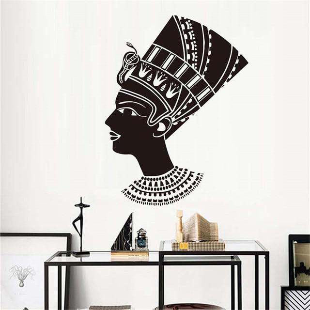 Head Of Female Egyptian Wall Sticker Living Room Decoration Black ...