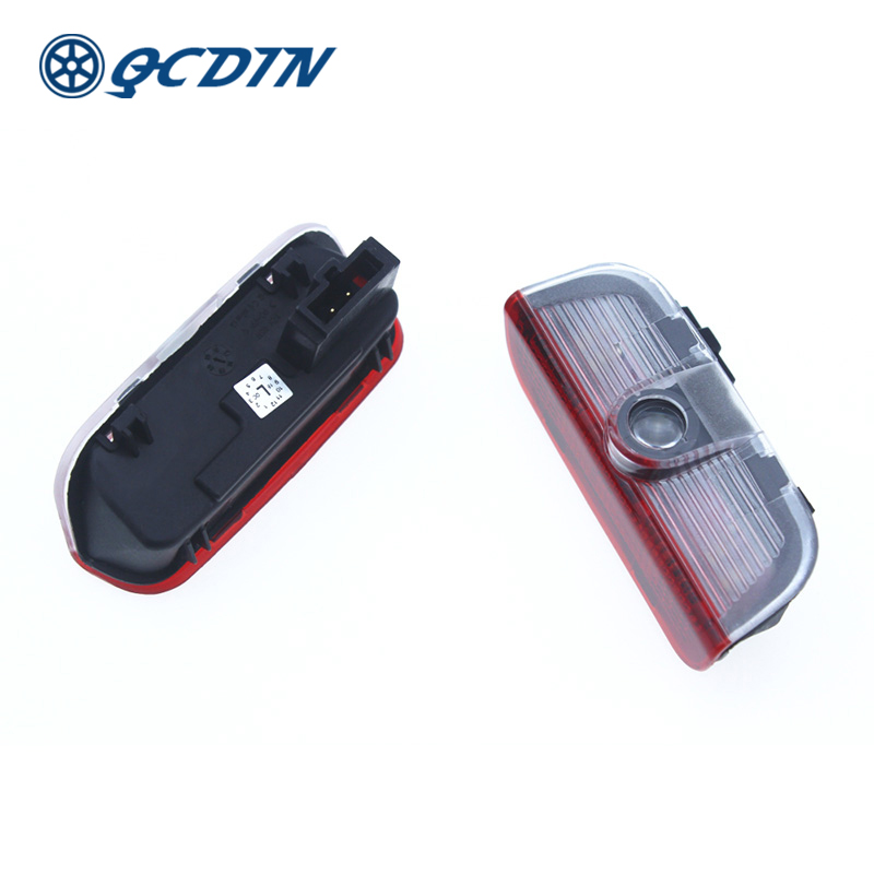 QCDIN 1 Pair Car LED Welcome Light For VW Welcome Lamp Laser Decoration Shadow Projector Light Car Styling Quick Installation sunset horseman gobo door led projector light welcome lamp cree q5 ultra bright puddle light for lincoln corvette vw dodge 1527