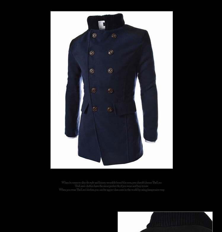 efb10e4966e Hot Sale Autumn Long Wool Coat Men Fashion Turn down Collar Wool ...