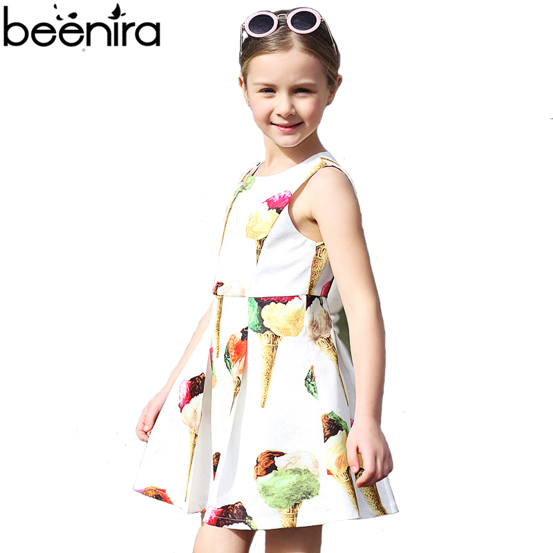 New Girls Dresses Child Princess Ice Cream Print Pleated Dress Brand Children Knee Length A Line Clothing for Party High Quality new girls dress brand summer clothes ice cream print costumes sleeveless kids clothing cute children vest dress princess dress