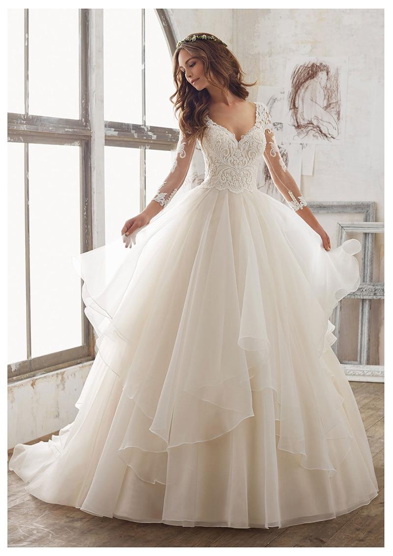 Elegant-Wedding-Dress-Ball-Gowns-Vestidos-de-novia-2019-Simple-Bridal-Gown-V-Neck-Sexy-Romantic (3)
