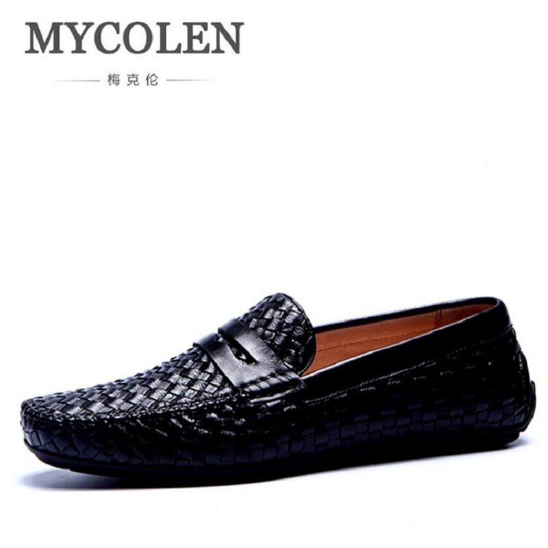 MYCOLEN Mens Summer Shoes Casual Leather Italian Fashion Loafers Boat Shoes For Men Breathable Footwear Male Doug Shoes mens shoes summer men casual shoes breathable pu leather men s flat shoes black white fashion low elastic band loafers for men