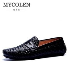 MYCOLEN Mens Summer Shoes Casual Leather Italian Fashion Loafers Boat For Men Breathable Footwear Male Doug