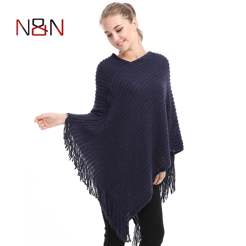 Casual Knitted Women Poncho Plus Solid Striped Sweater Winter Tassel Thick Warm Sweaters Batwing Sleeve Poncho And Cape PH09