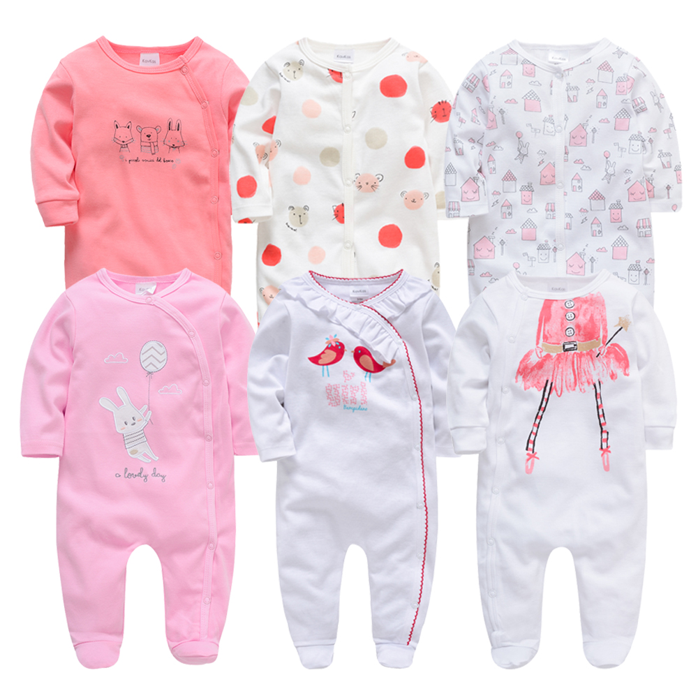 2019 6 Pcs/lot Baby   Rompers   roupa de bebes Long Sleeve Summer Baby Jumpsuits Infant Baby Girls Boys Overall Clothing