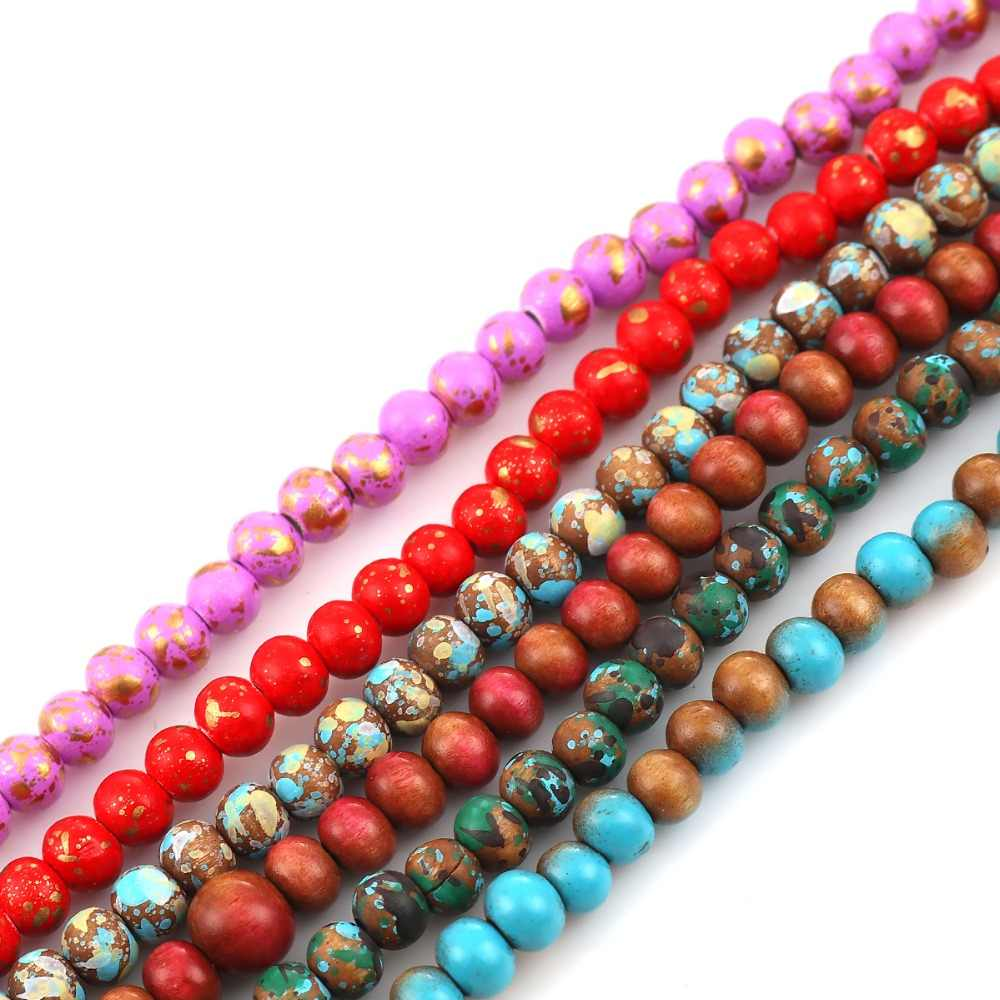 DoreenBeads Moda Madeira Encantos Spacer Beads Redonda Multicolor Local Sobre 6mm Dia, Buraco: Aprox 2mm, 44.5 cm de comprimento, 1 Vertente