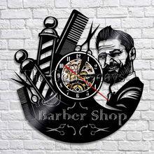 Negozio di barbiere In Punto Decorativo Orologi Da Parete Parrucchiere  Vinile Orologio Da Parete Design Moderno 1c7c62aefd61
