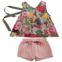 Fashion Baby Children Clothes Set Cute Girl Flower Print Tops T-shirt Vest+Shorts 2pcs Kids Cltohing Sunsuit Home Outfits Set