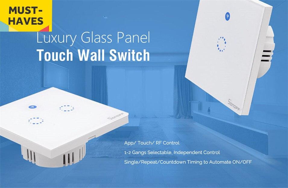 Sonoff T1 Eu Uk Panel Wifi Rf 433  App  Control T U00e1ctil