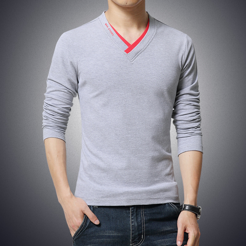Hot Sale 2018 New Fashion Brand V Neck Long Sleeve T Shirt Men Slim Fit Tee  Casual Mens T Shirt Cotton Top Tee Shirts 4XL 5XL-in T-Shirts from Men s ... 108cd54f025e