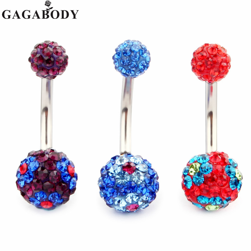Gaga 14g Belly Button Ring Round Bling Czech Threecolour Crystal Classic  Belly Button Naval