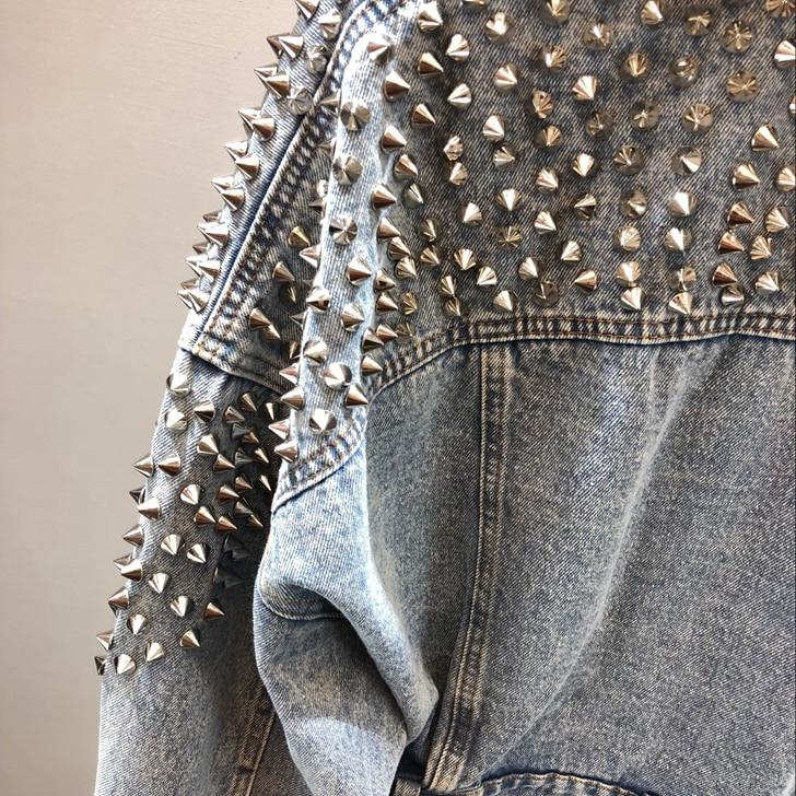 Manches Denim Femmes 2018 Lavé Casual coréen Chauve Lâche Automne Femelle Blue Jean De Veste 1853 Nouvelle souris Mode Court Rivet qxtvIt