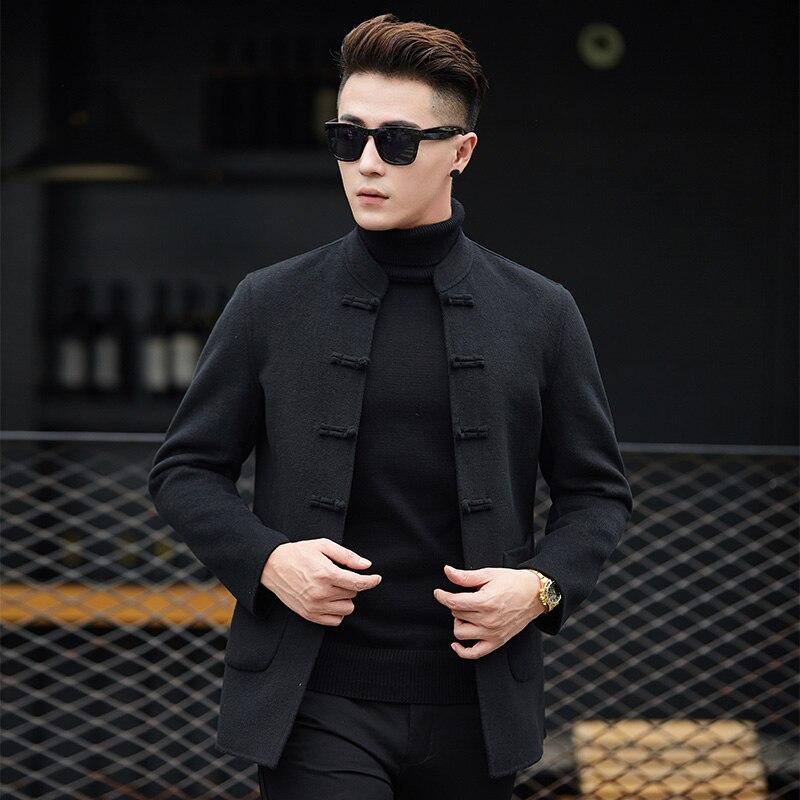 2018 Veste Tranchée D'hiver Hommes Casual Coupe Nouvelle Manteau Slim vent Court De Fit Manteaux Mode Noir Solide wOTZuPlXki
